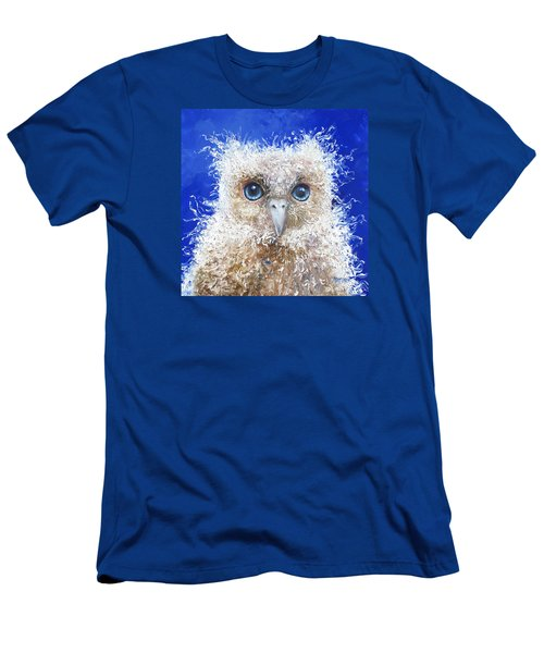 Blue Eyed Owl Painting Men's T-Shirt (Athletic Fit)