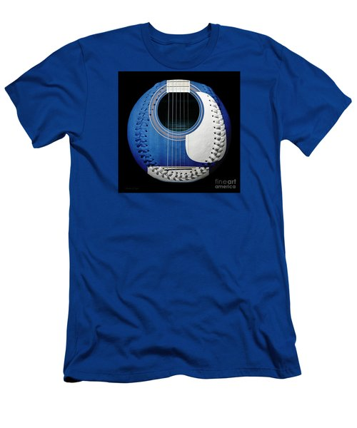 Blue Guitar Baseball White Laces Square Men's T-Shirt (Athletic Fit)
