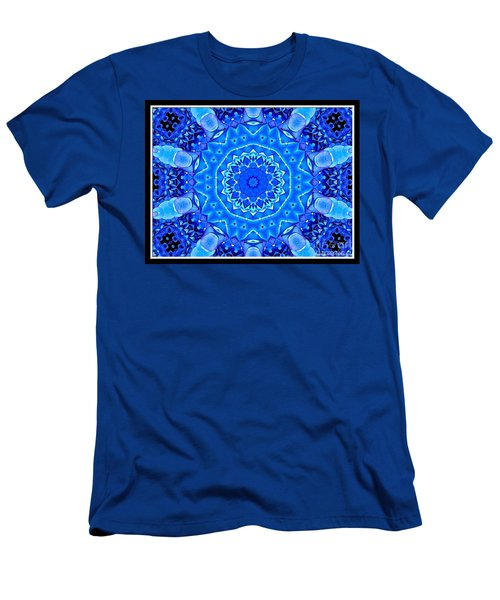 Men's T-Shirt (Slim Fit) featuring the photograph Blue Hydrangeas Flower Kaleidoscope by Rose Santuci-Sofranko