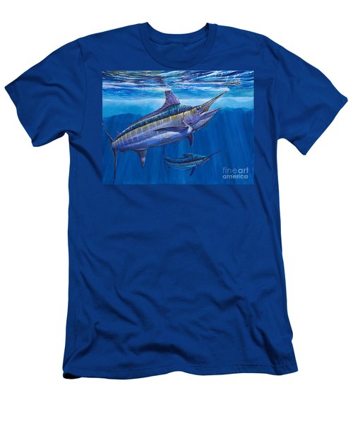 Blue Marlin Bite Off001 Men's T-Shirt (Slim Fit) by Carey Chen