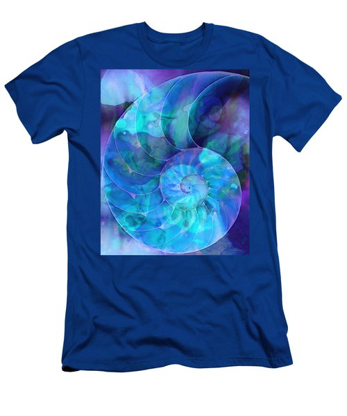 Men's T-Shirt (Athletic Fit) featuring the painting Blue Nautilus Shell By Sharon Cummings by Sharon Cummings