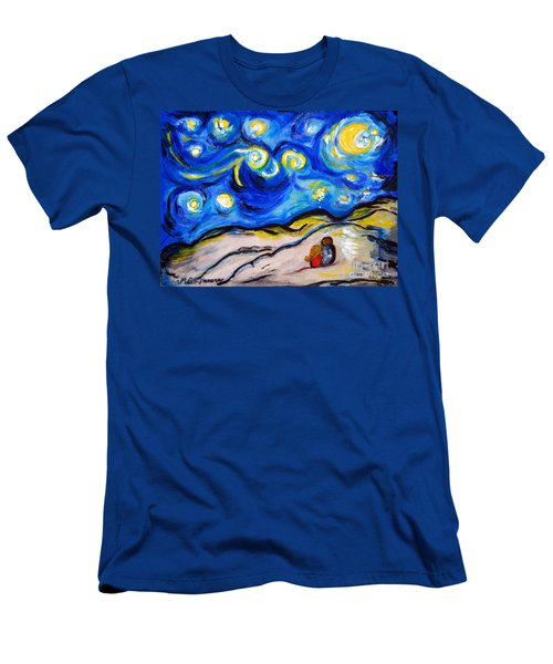 Men's T-Shirt (Slim Fit) featuring the painting Blue Night by Ramona Matei