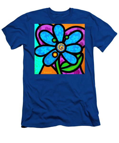 Blue Pinwheel Daisy Men's T-Shirt (Athletic Fit)