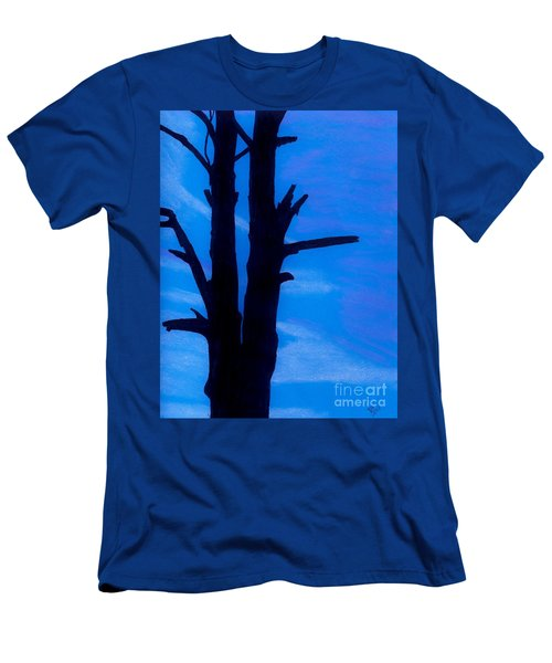 Men's T-Shirt (Slim Fit) featuring the drawing Blue Sky Tree by D Hackett