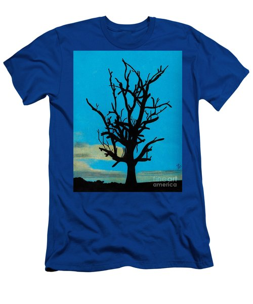 Men's T-Shirt (Slim Fit) featuring the drawing Blue Sunset by D Hackett