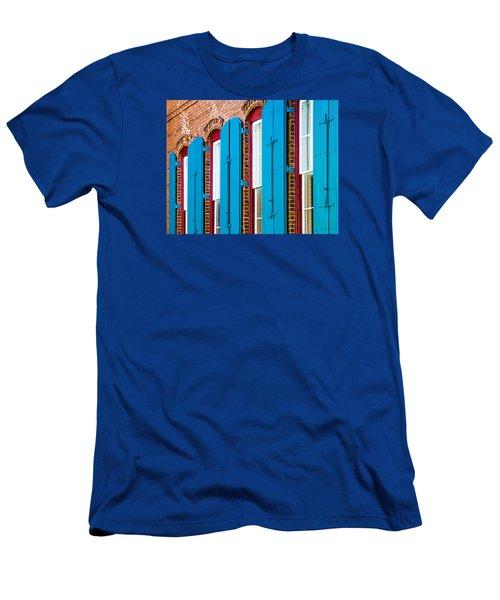 Blue Windows Men's T-Shirt (Slim Fit) by Carolyn Marshall