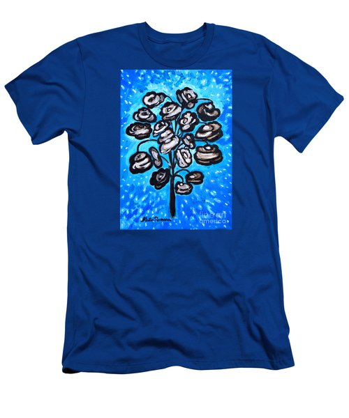 Men's T-Shirt (Slim Fit) featuring the painting Bouquet Of White Poppies by Ramona Matei