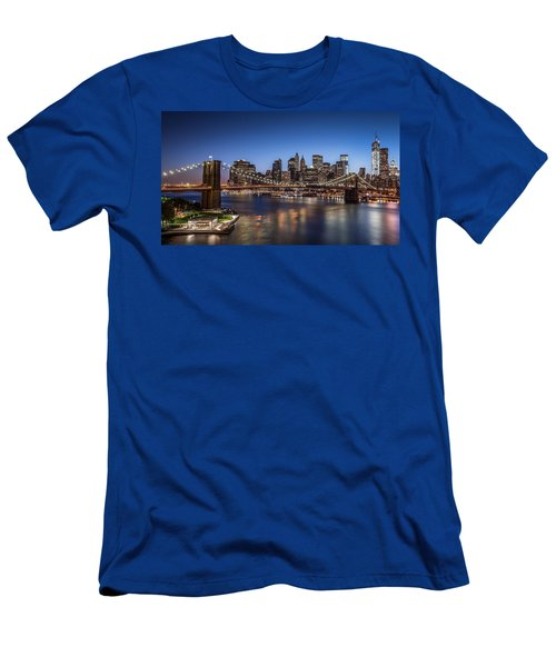 Brooklyn Bridge Men's T-Shirt (Slim Fit) by Mihai Andritoiu