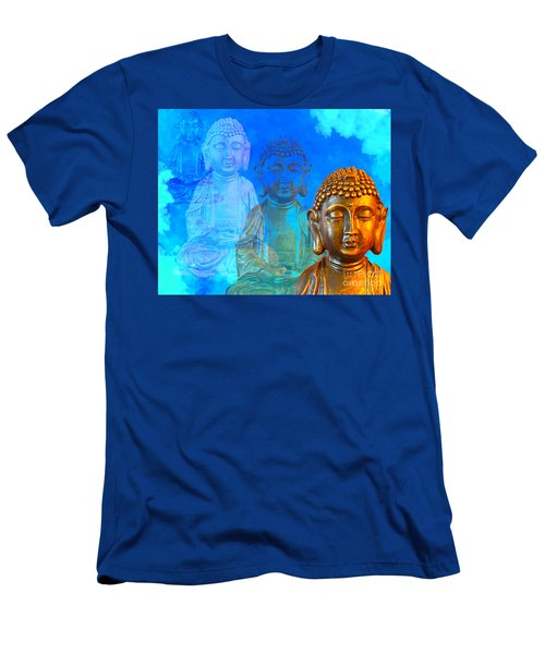 Men's T-Shirt (Slim Fit) featuring the sculpture Buddha's Thoughts by Ginny Gaura