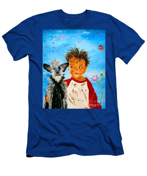 Men's T-Shirt (Slim Fit) featuring the painting Buddies by Phyllis Kaltenbach