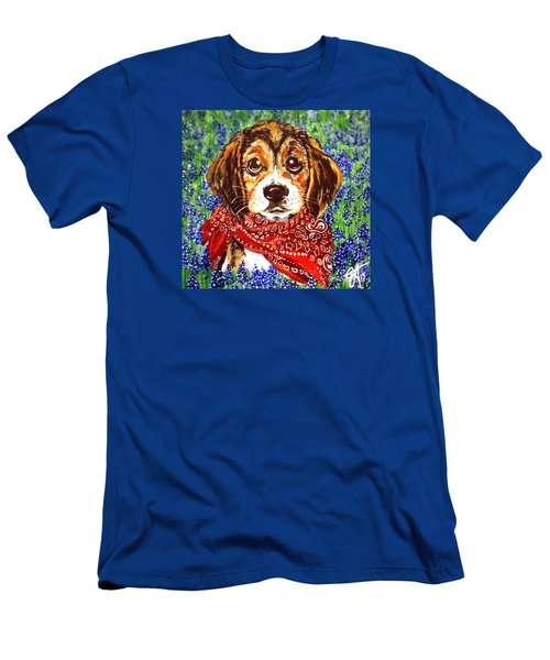 Buddy Dog Beagle Puppy Western Wildflowers Basset Hound  Men's T-Shirt (Athletic Fit)