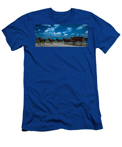 Budweiser Clydsdales And Blue Water Bridges Men's T-Shirt (Athletic Fit)