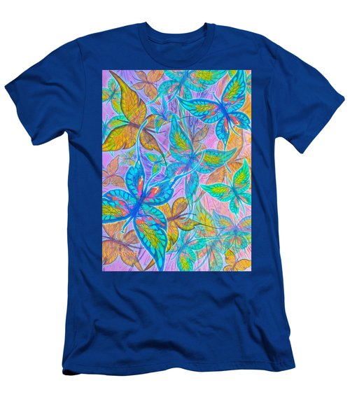 Men's T-Shirt (Slim Fit) featuring the mixed media Butterflies On Lilac by Teresa Ascone
