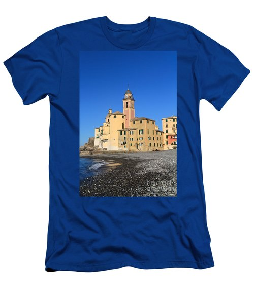 Men's T-Shirt (Slim Fit) featuring the photograph Camogli Seaside And Church by Antonio Scarpi