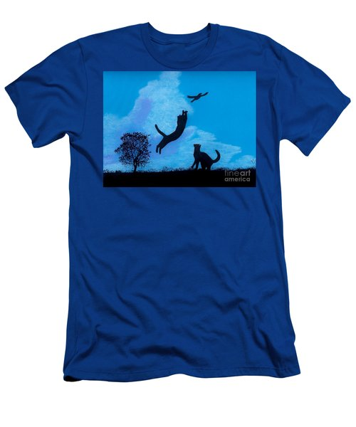 Men's T-Shirt (Slim Fit) featuring the drawing Cats -  Playing by D Hackett