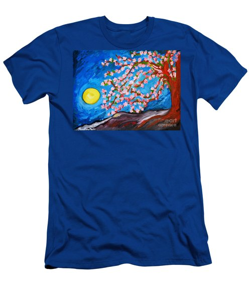 Men's T-Shirt (Slim Fit) featuring the painting Cherry Tree In Blossom  by Ramona Matei