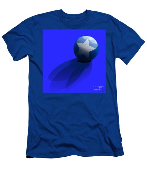 Men's T-Shirt (Slim Fit) featuring the digital art Blue Ball Decorated With Star Grass Blue Background by R Muirhead Art
