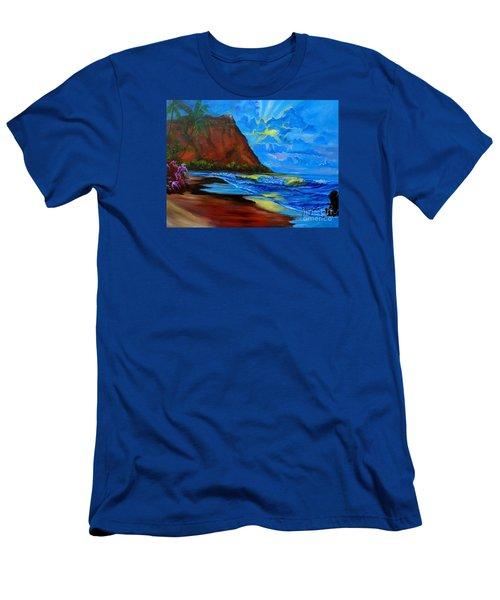 Diamond Head Blue Men's T-Shirt (Slim Fit) by Jenny Lee
