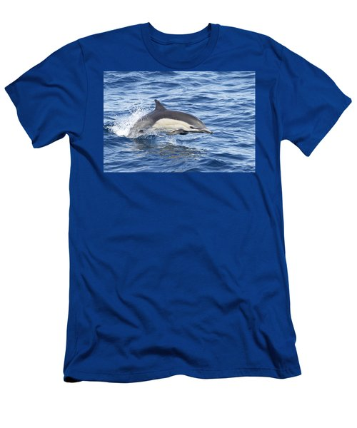 Men's T-Shirt (Slim Fit) featuring the pyrography Dolphin At Play by Shoal Hollingsworth