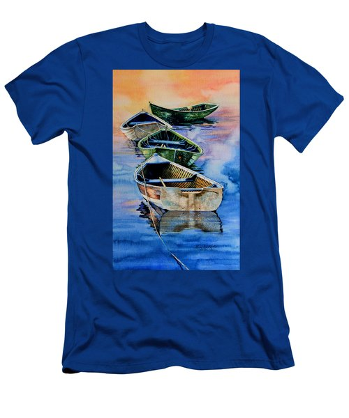 Men's T-Shirt (Athletic Fit) featuring the painting Down East Dories At Dawn by Hanne Lore Koehler