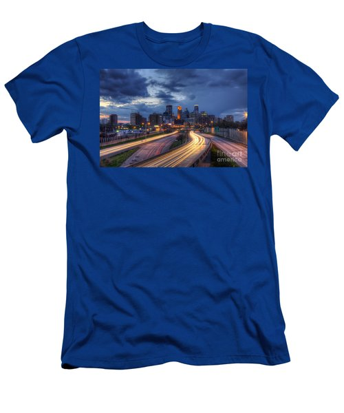 Downtown Minneapolis Skyline On 35 W Sunset Men's T-Shirt (Athletic Fit)