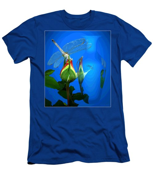 Men's T-Shirt (Slim Fit) featuring the photograph Dragonfly And Bud On Blue by Joyce Dickens