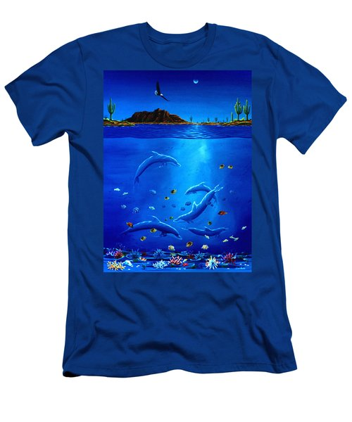 Eagle Over Dolphins Men's T-Shirt (Slim Fit) by Lance Headlee
