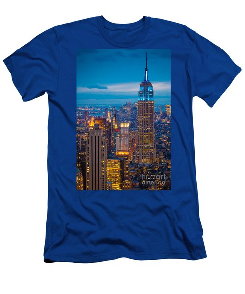 Empire State Blue Night Men's T-Shirt (Slim Fit) by Inge Johnsson