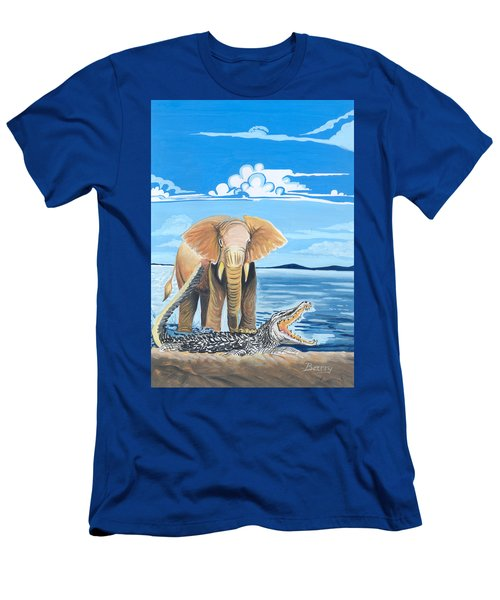 Men's T-Shirt (Slim Fit) featuring the painting Faune D'afrique Centrale 02 by Emmanuel Baliyanga