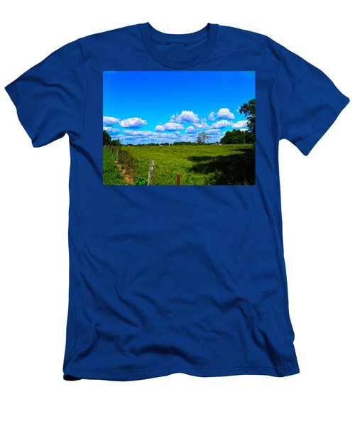 Fence Row And Clouds Men's T-Shirt (Slim Fit) by Nick Kirby