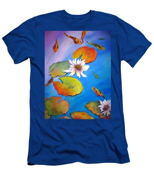 Men's T-Shirt (Slim Fit) featuring the painting Fish Pond I by Lil Taylor