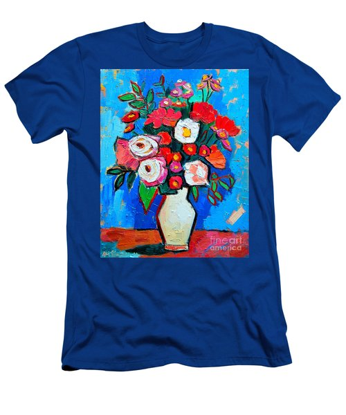 Flowers And Colors Men's T-Shirt (Slim Fit) by Ana Maria Edulescu