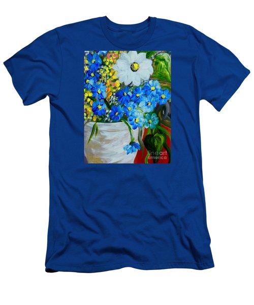 Flowers In A White Vase Men's T-Shirt (Slim Fit) by Eloise Schneider