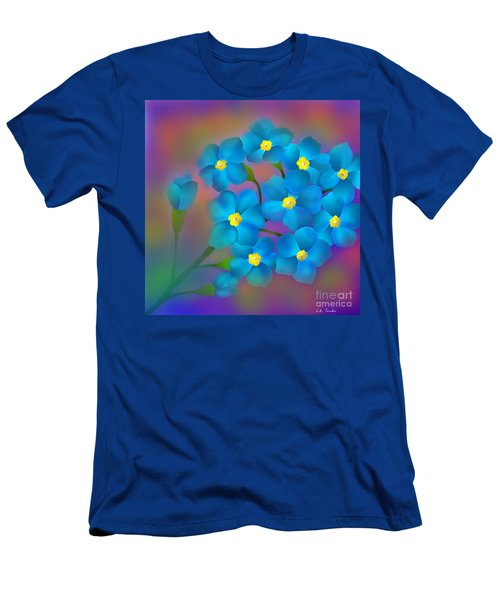 Men's T-Shirt (Slim Fit) featuring the digital art Forget- Me -not Flowers by Latha Gokuldas Panicker