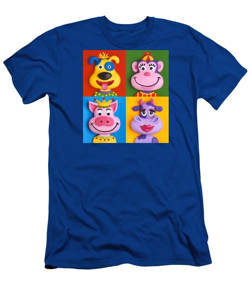 Four Animal Faces Men's T-Shirt (Athletic Fit)