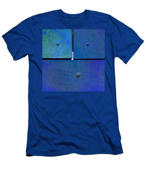 Men's T-Shirt (Slim Fit) featuring the photograph Four Five Six - Colorful Rust - Blue by Menega Sabidussi