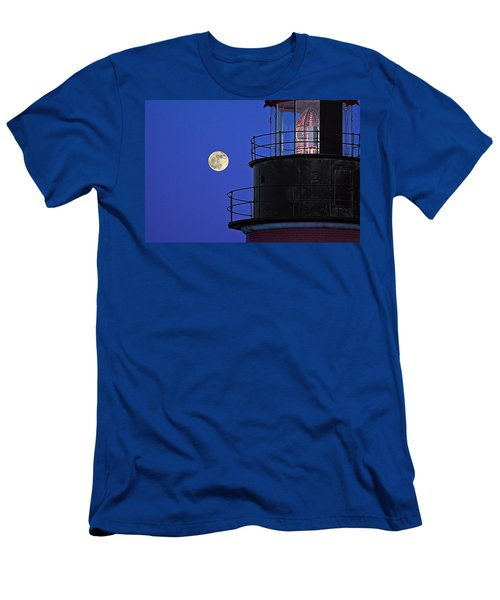 Men's T-Shirt (Slim Fit) featuring the photograph Full Moon And West Quoddy Head Lighthouse Beacon by Marty Saccone