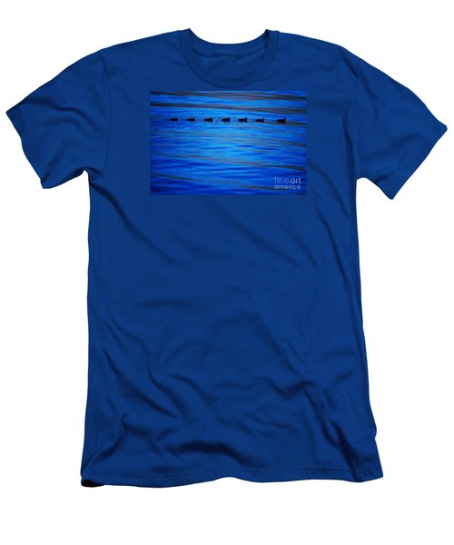 Getting Your Ducks In A Row Men's T-Shirt (Slim Fit) by Cynthia Lagoudakis