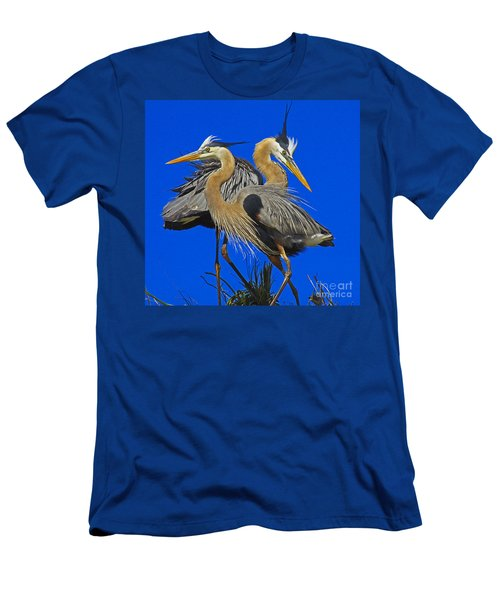 Great Blue Heron Family Men's T-Shirt (Slim Fit) by Larry Nieland