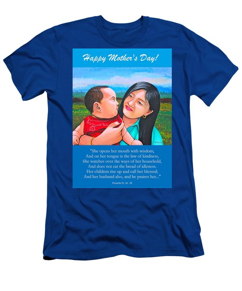 Happy Mom And Babe Men's T-Shirt (Slim Fit) by Cyril Maza