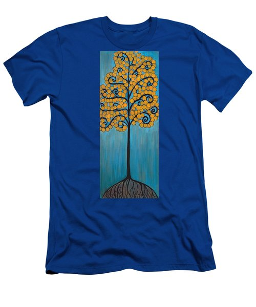 Happy Tree In Blue And Gold Men's T-Shirt (Athletic Fit)
