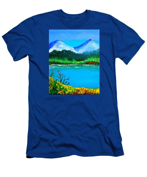 Hills By The Lake Men's T-Shirt (Slim Fit) by Cyril Maza