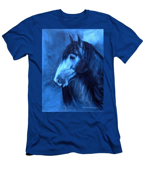 Men's T-Shirt (Slim Fit) featuring the painting Horse - Carol In Indigo by Go Van Kampen
