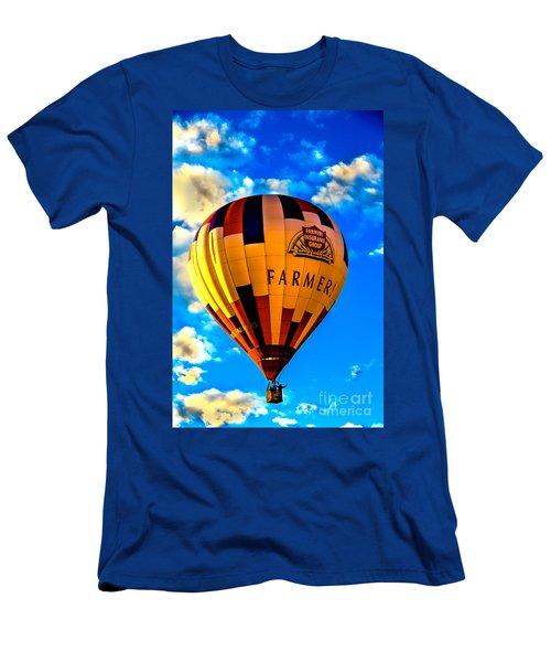 Hot Air Ballon Farmer's Insurance Men's T-Shirt (Slim Fit) by Robert Bales