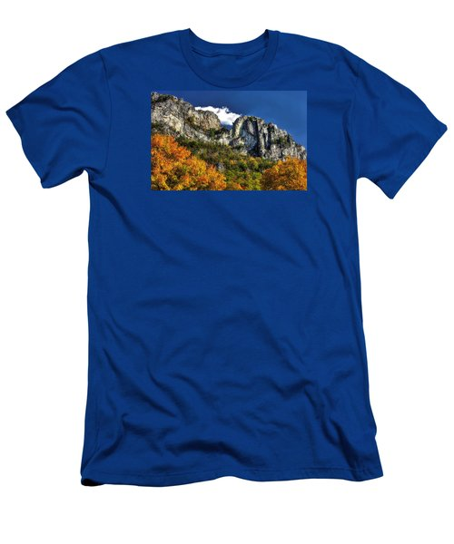 Imposing Seneca Rocks - Seneca Rocks National Recreation Area Wv Autumn Mid-afternoon Men's T-Shirt (Slim Fit) by Michael Mazaika