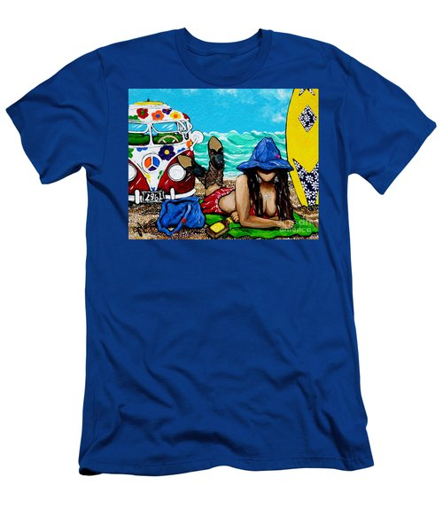 Men's T-Shirt (Slim Fit) featuring the painting J. C. Beaching It In 1961 by Jackie Carpenter