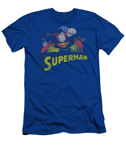 Jla - Superman Rough Distress Men's T-Shirt (Athletic Fit)