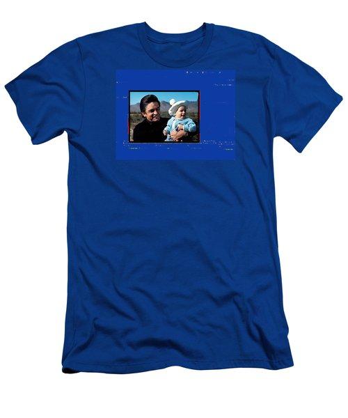 Men's T-Shirt (Slim Fit) featuring the photograph Johnny Cash John Carter Cash Old Tucson Arizona 1971 by David Lee Guss