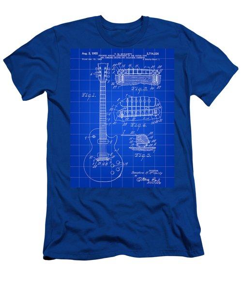 Les Paul Guitar Patent 1953 - Blue Men's T-Shirt (Slim Fit) by Stephen Younts