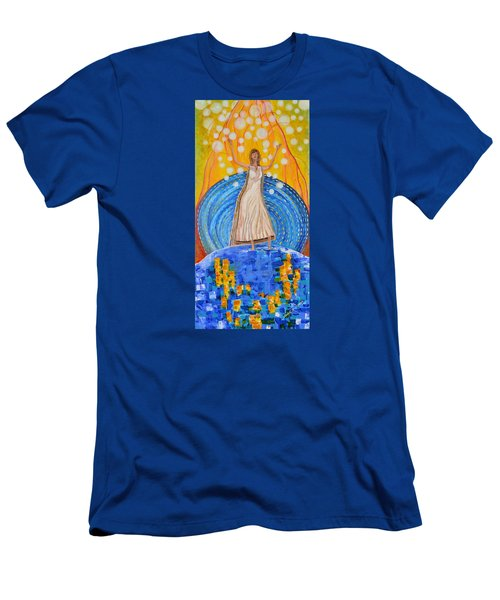 Men's T-Shirt (Slim Fit) featuring the painting Lifting The Veil by Cassie Sears